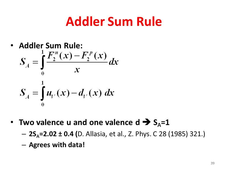 39 Addler Sum Rule Addler Sum Rule: Two valence u and one valence d  S A =1 – 2S A =2.02 ± 0.4 (D. Allasia, et al., Z. Phys. C 28 (1985) 321.) – Agre