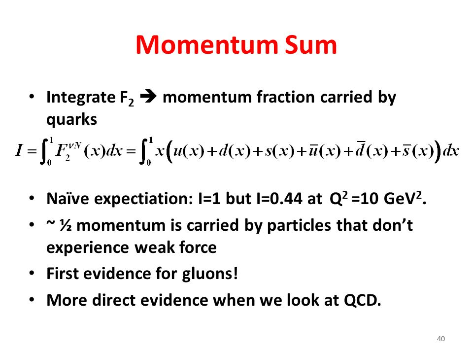 40 Momentum Sum Integrate F 2  momentum fraction carried by quarks Naïve expectiation: I=1 but I=0.44 at Q 2 =10 GeV 2. ~ ½ momentum is carried by pa