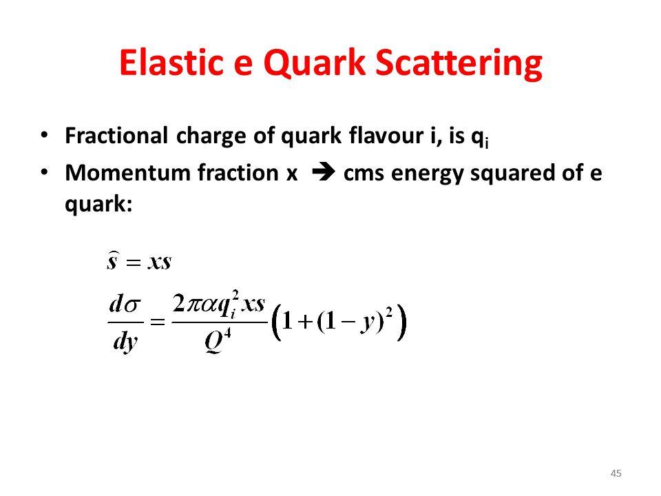 45 Elastic e Quark Scattering Fractional charge of quark flavour i, is q i Momentum fraction x  cms energy squared of e quark: