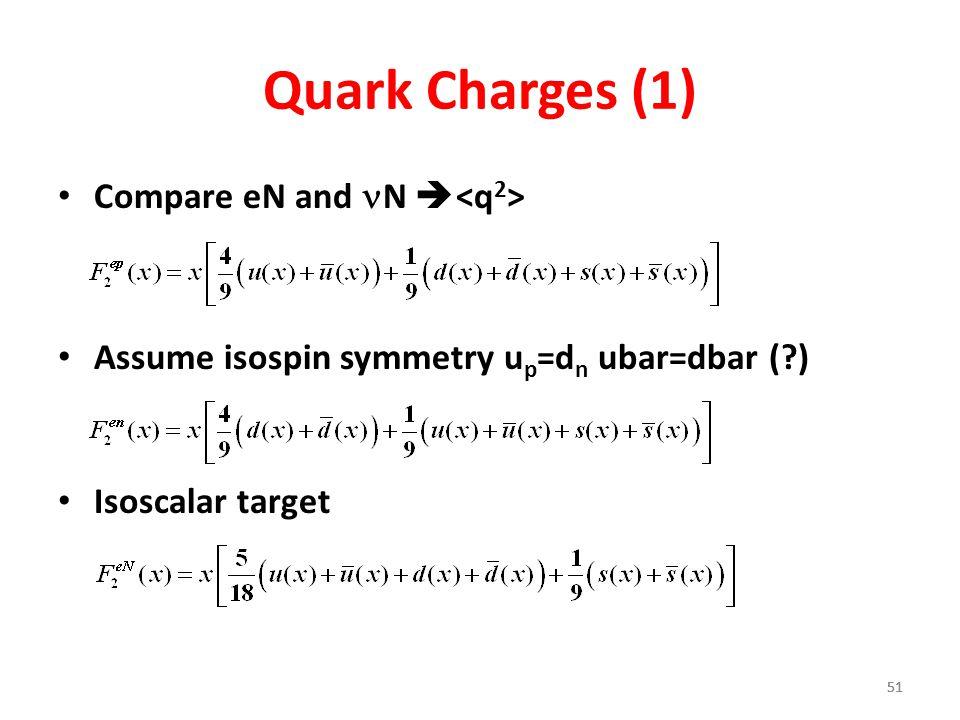 51 Quark Charges (1) Compare eN and N  Assume isospin symmetry u p =d n ubar=dbar (?) Isoscalar target