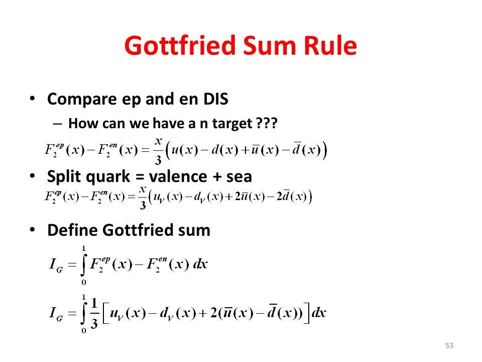 53 Gottfried Sum Rule Compare ep and en DIS – How can we have a n target ??? Split quark = valence + sea Define Gottfried sum