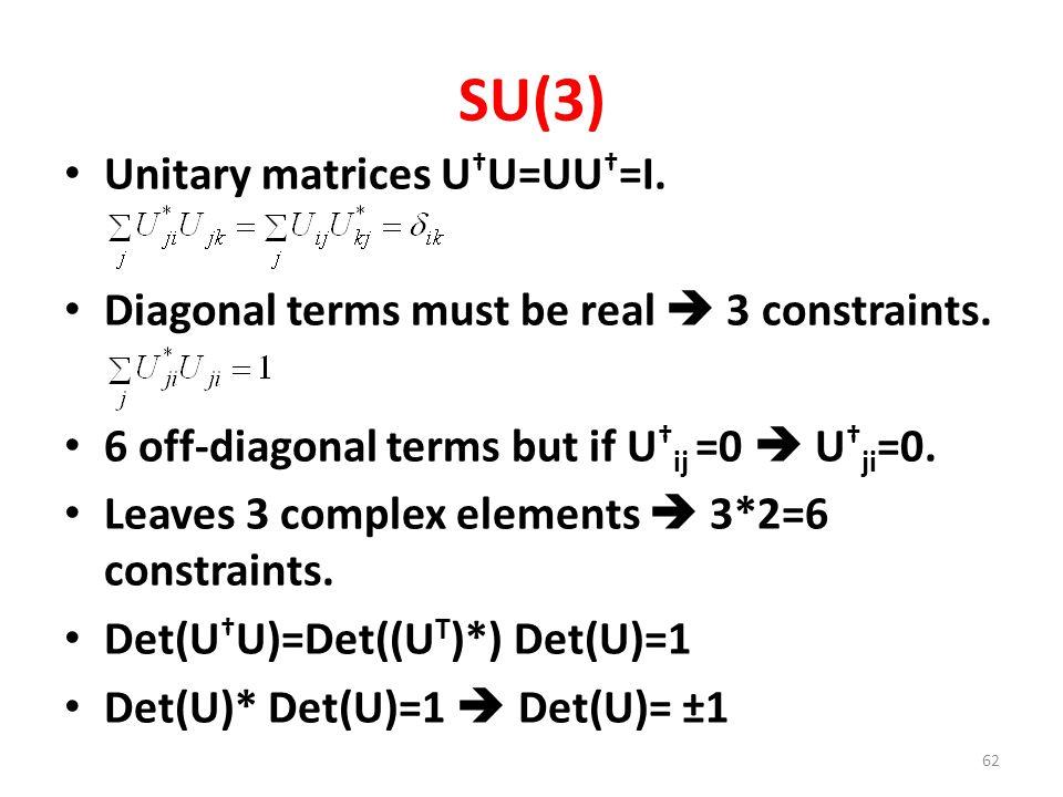 SU(3) Unitary matrices U † U=UU † =I.Diagonal terms must be real  3 constraints.