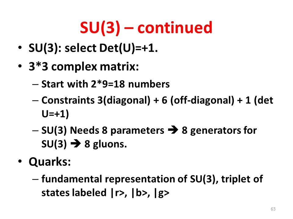SU(3) – continued SU(3): select Det(U)=+1. 3*3 complex matrix: – Start with 2*9=18 numbers – Constraints 3(diagonal) + 6 (off-diagonal) + 1 (det U=+1)