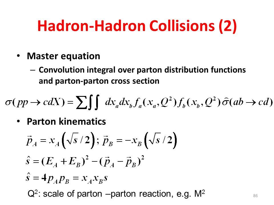 86 Hadron-Hadron Collisions (2) Master equation – Convolution integral over parton distribution functions and parton-parton cross section Parton kinematics Q 2 : scale of parton –parton reaction, e.g.