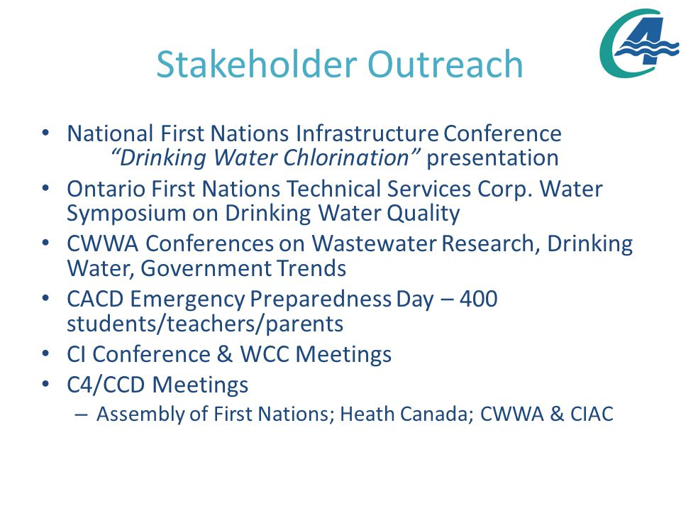 Stakeholder Outreach National First Nations Infrastructure Conference Drinking Water Chlorination presentation Ontario First Nations Technical Services Corp.
