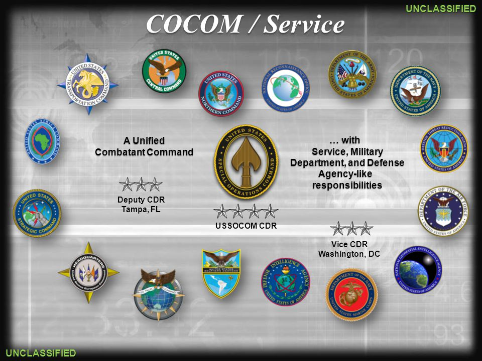 UNCLASSIFIED UNCLASSIFIED Joint United States Army Special Operations Command (USASOC) Naval Special Warfare Command (NAVSPECWARCOM) Air Force Special Operations Command (AFSOC) Joint Special Operations Command (JSOC) Marine Corps Special Operations Command (MARSOC)
