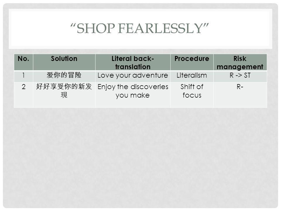 """""""SHOP FEARLESSLY"""" No.SolutionLiteral back- translation ProcedureRisk management 1 爱你的冒险 Love your adventureLiteralismR -> ST 2 好好享受你的新发 现 Enjoy the di"""