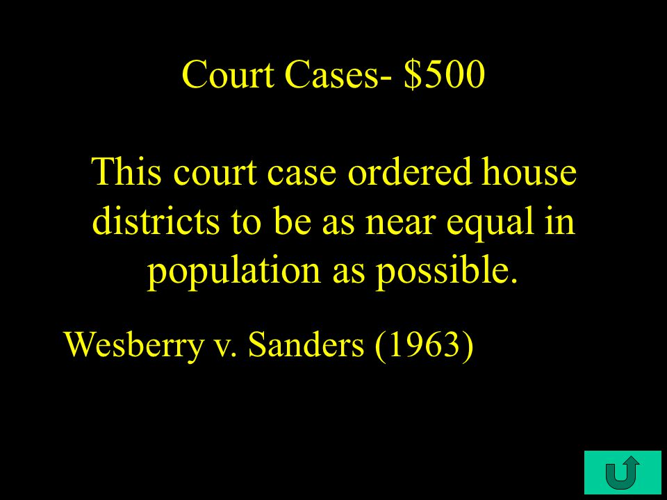 C2-$400 Court Cases- $400 This court case had no racial gerrymandering; race can't be the sole or predominant factor in redrawing legislative boundaries.