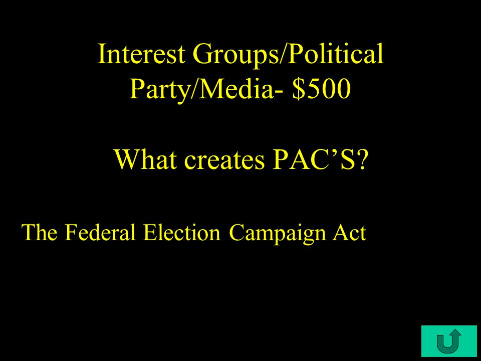 C3-$400 Interest Groups/Political Party/Media- $400 What two key events brought about the Bipartisan Campaign Reform Act of 2002.