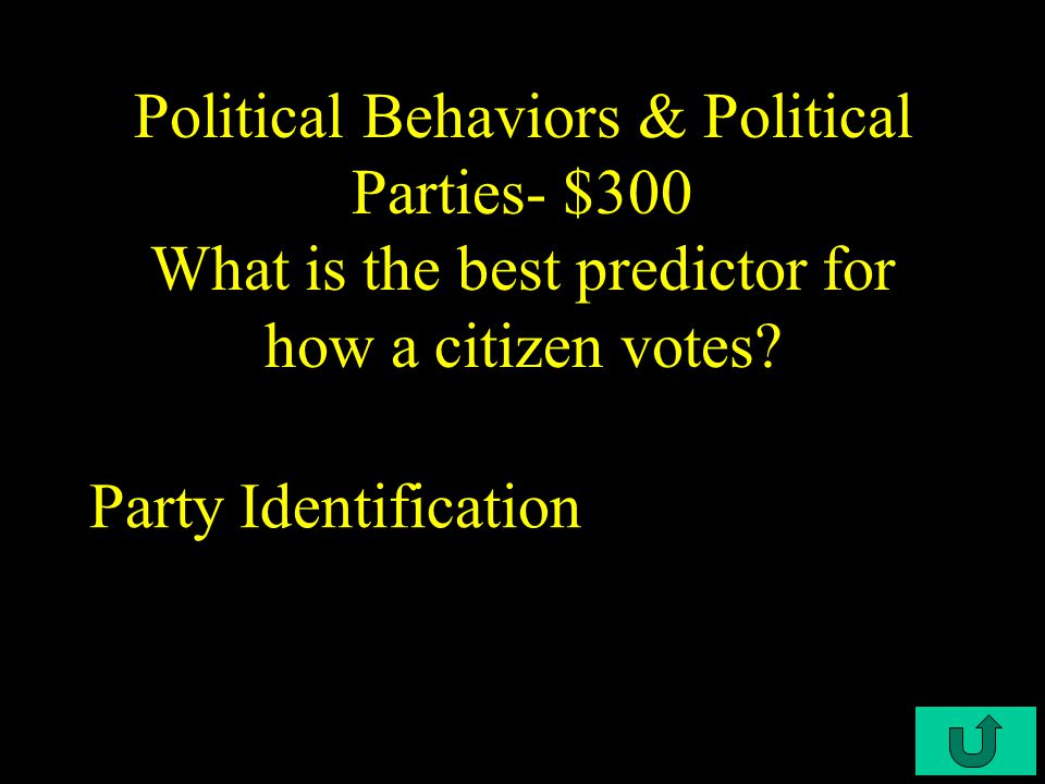 C4-$200 Political Behaviors & Political Parties- $200 What is the most common form of voting in the United States.