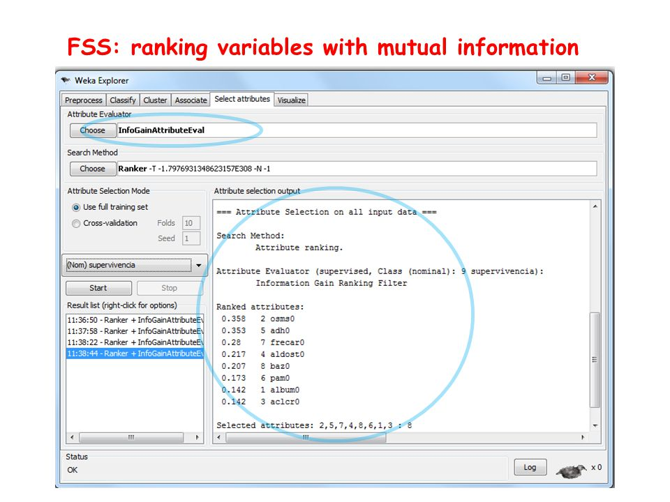 FSS: ranking variables with mutual information