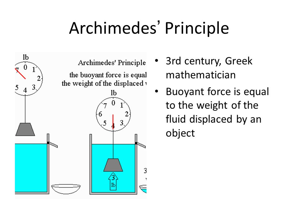 Archimedes' Principle 3rd century, Greek mathematician Buoyant force is equal to the weight of the fluid displaced by an object