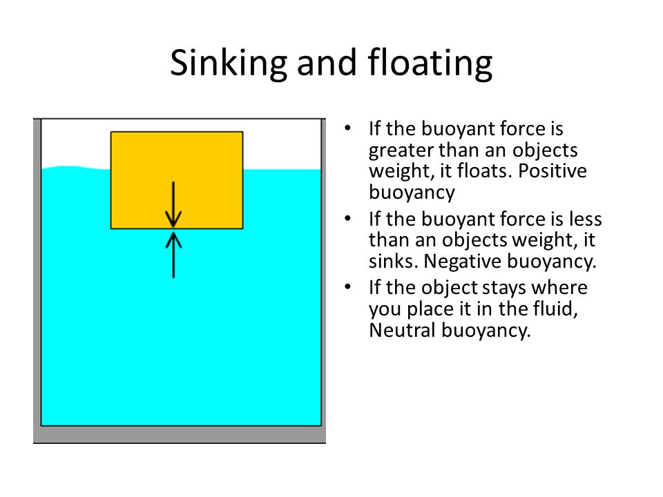 Sinking and floating If the buoyant force is greater than an objects weight, it floats.