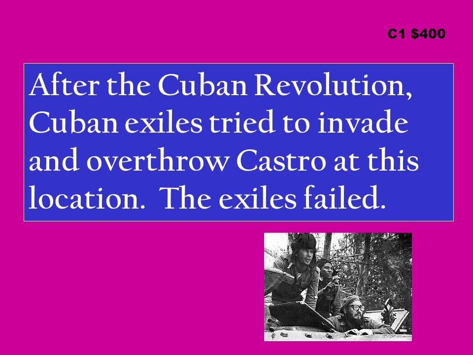After the Cuban Revolution, Cuban exiles tried to invade and overthrow Castro at this location.