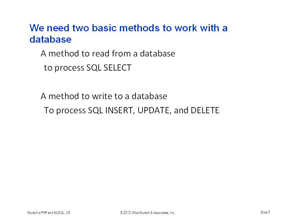 Murach s PHP and MySQL, C4© 2010, Mike Murach & Associates, Inc.Slide 16