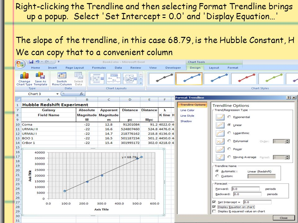Right-clicking the Trendline and then selecting Format Trendline brings up a popup.