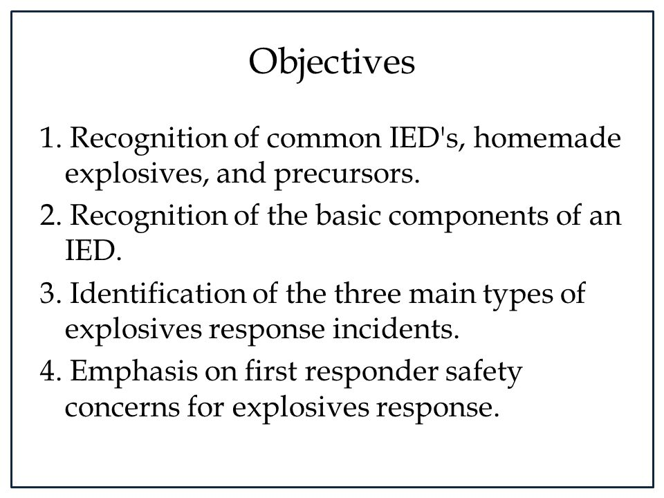 Types of HMEs: Hydrogen Peroxide-Based Extremely sensitive to heat, shock, and friction, hydrogen peroxide-based explosives, such as HMTD and TATP, are some of the most commonly used HME in IEDs.