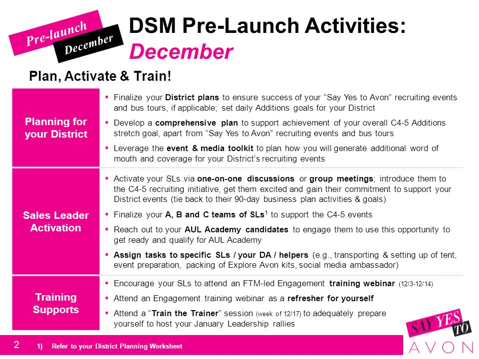 DSM Pre-Launch Activities: December - January Ensure you & your team have the right tools and materials.
