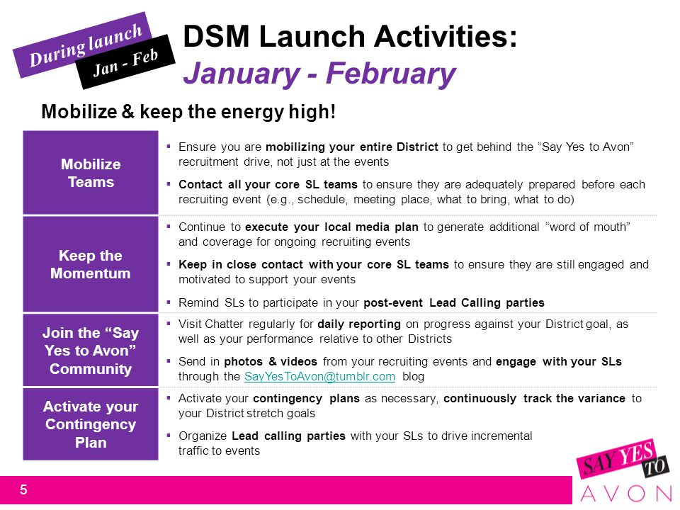 DSM Launch Activities: January - February During launch Jan - Feb 5 Mobilize Teams  Ensure you are mobilizing your entire District to get behind the Say Yes to Avon recruitment drive, not just at the events  Contact all your core SL teams to ensure they are adequately prepared before each recruiting event (e.g., schedule, meeting place, what to bring, what to do) Keep the Momentum  Continue to execute your local media plan to generate additional word of mouth and coverage for ongoing recruiting events  Keep in close contact with your core SL teams to ensure they are still engaged and motivated to support your events  Remind SLs to participate in your post-event Lead Calling parties Join the Say Yes to Avon Community  Visit Chatter regularly for daily reporting on progress against your District goal, as well as your performance relative to other Districts  Send in photos & videos from your recruiting events and engage with your SLs through the SayYesToAvon@tumblr.com blogSayYesToAvon@tumblr.com Activate your Contingency Plan  Activate your contingency plans as necessary, continuously track the variance to your District stretch goals  Organize Lead calling parties with your SLs to drive incremental traffic to events Mobilize & keep the energy high!