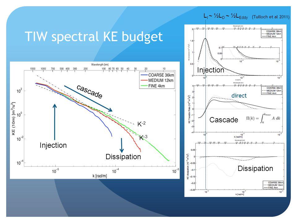 TIW spectral KE budget Cascade Dissipation direct Injection L I ~ ½L D ~ ½L Eddy (Tulloch et al 2011) Injection cascade Dissipation K -3 K -2