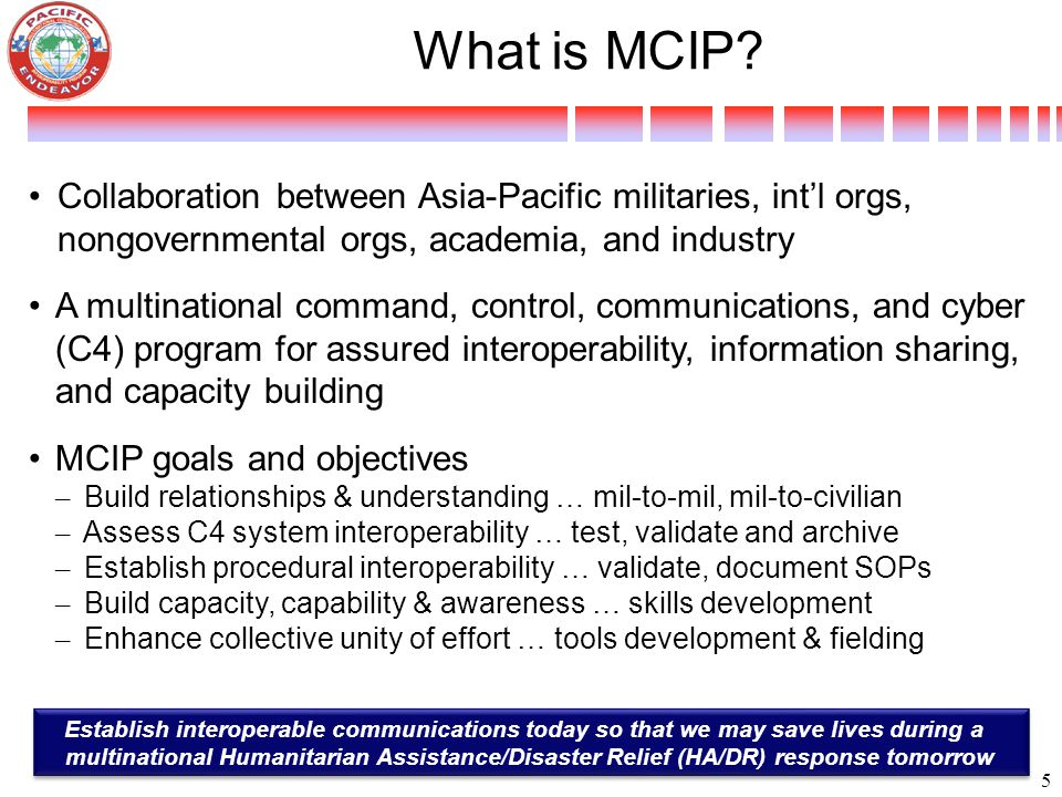What is MCIP? Collaboration between Asia-Pacific militaries, int'l orgs, nongovernmental orgs, academia, and industry A multinational command, control