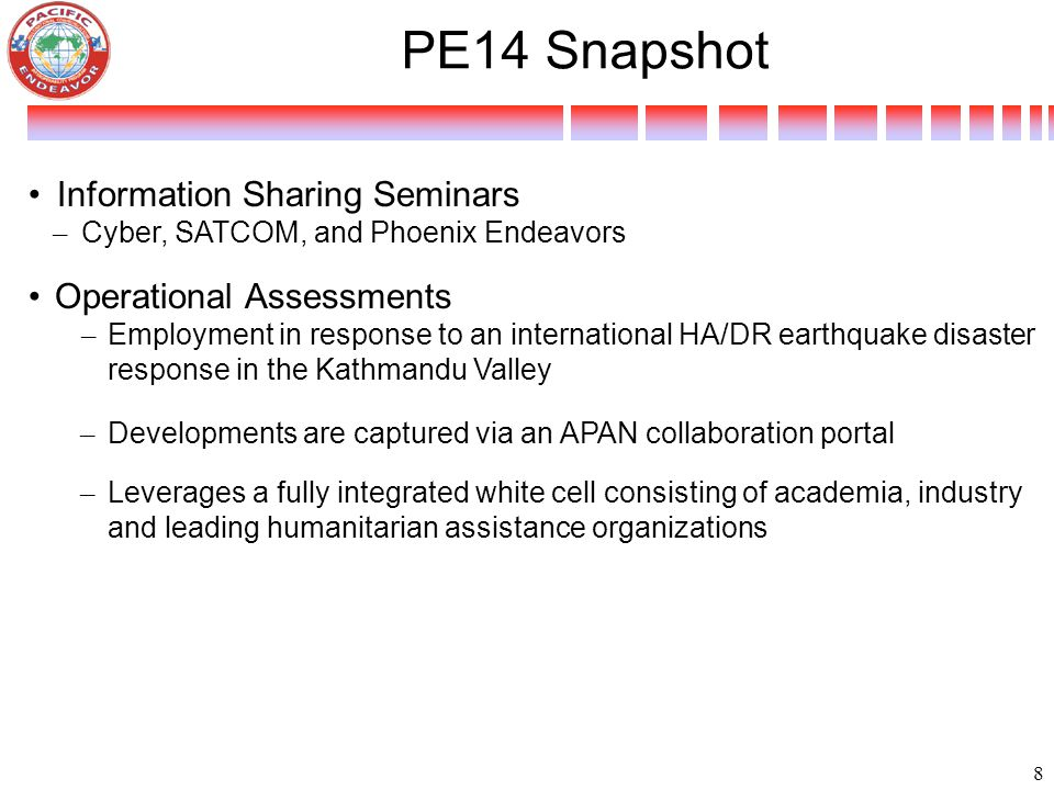 PE14 Snapshot Information Sharing Seminars – Cyber, SATCOM, and Phoenix Endeavors Operational Assessments – Employment in response to an international HA/DR earthquake disaster response in the Kathmandu Valley – Developments are captured via an APAN collaboration portal – Leverages a fully integrated white cell consisting of academia, industry and leading humanitarian assistance organizations 8