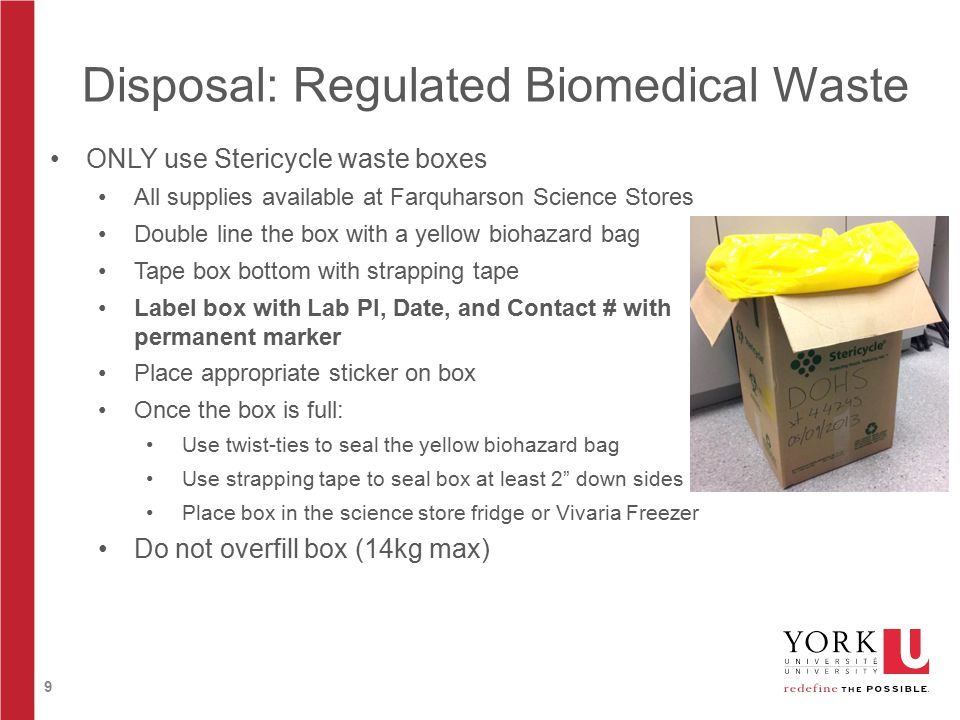 9 Disposal: Regulated Biomedical Waste ONLY use Stericycle waste boxes All supplies available at Farquharson Science Stores Double line the box with a yellow biohazard bag Tape box bottom with strapping tape Label box with Lab PI, Date, and Contact # with permanent marker Place appropriate sticker on box Once the box is full: Use twist-ties to seal the yellow biohazard bag Use strapping tape to seal box at least 2 down sides Place box in the science store fridge or Vivaria Freezer Do not overfill box (14kg max)