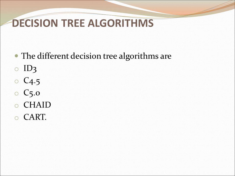 DECISION TREE ALGORITHMS The different decision tree algorithms are o ID3 o C4.5 o C5.0 o CHAID o CART.