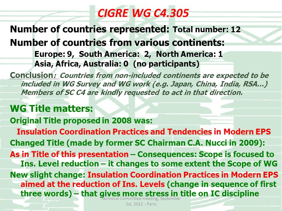 CIGRE WG C4.305 Number of countries represented: Total number: 12 Number of countries from various continents: Europe: 9, South America: 2, North Amer