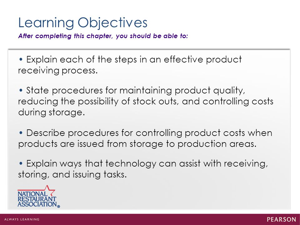 Chapter 4 Product Receiving, Storing, and Issuing Key Terms continued: Receiving report A report used in operations that calculates food costs on a daily basis.