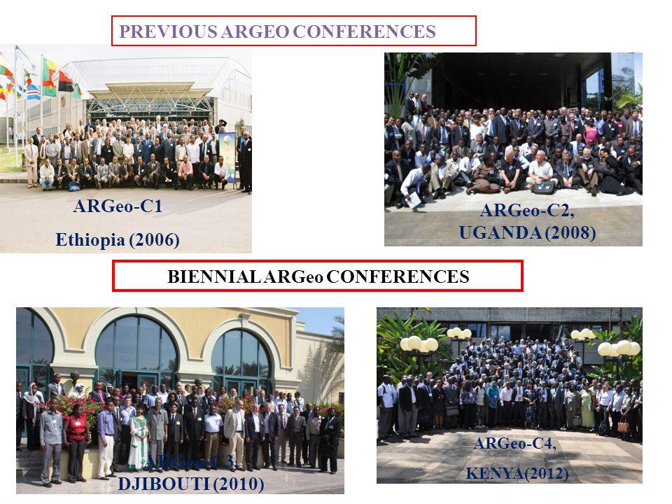 4 PREVIOUS ARGEO CONFERENCES ARGeo-C1 Ethiopia (2006) Djibouti ARGeo-C2, UGANDA (2008) BIENNIAL ARGeo CONFERENCES ARGeo-C3, DJIBOUTI (2010) ARGeo-C4, KENYA(2012)