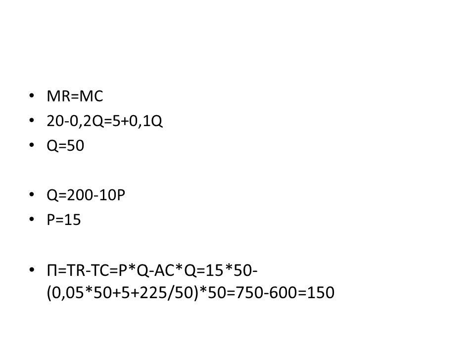 MR=MC 20-0,2Q=5+0,1Q Q=50 Q=200-10P P=15 Π=TR-TC=P*Q-AC*Q=15*50- (0,05*50+5+225/50)*50=750-600=150