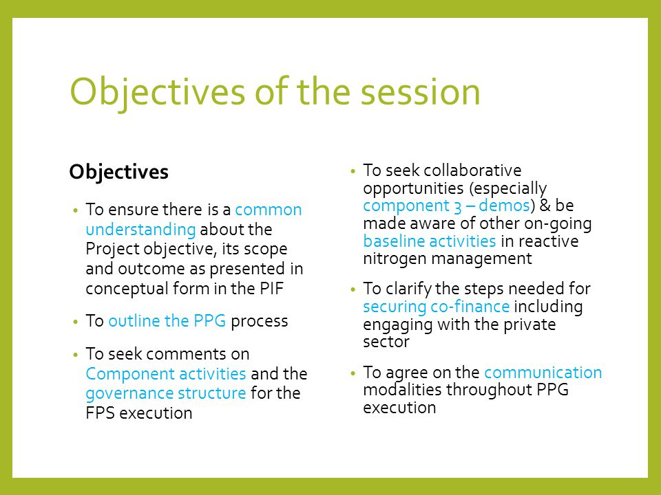 Objectives of the session Objectives To ensure there is a common understanding about the Project objective, its scope and outcome as presented in conc