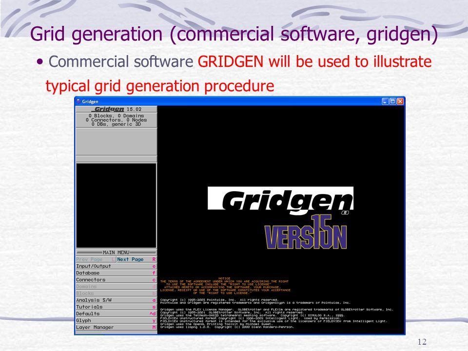 12 Grid generation (commercial software, gridgen) Commercial software GRIDGEN will be used to illustrate typical grid generation procedure