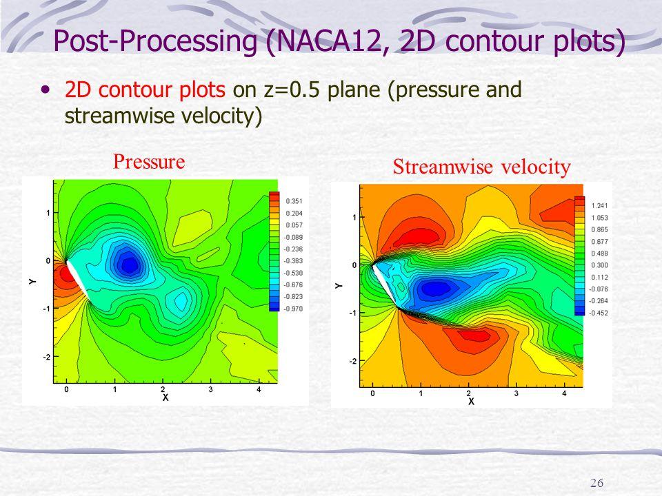 26 Post-Processing (NACA12, 2D contour plots) 2D contour plots on z=0.5 plane (pressure and streamwise velocity) Pressure Streamwise velocity