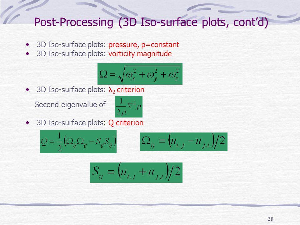 28 Post-Processing (3D Iso-surface plots, cont'd) 3D Iso-surface plots: pressure, p=constant 3D Iso-surface plots: vorticity magnitude 3D Iso-surface