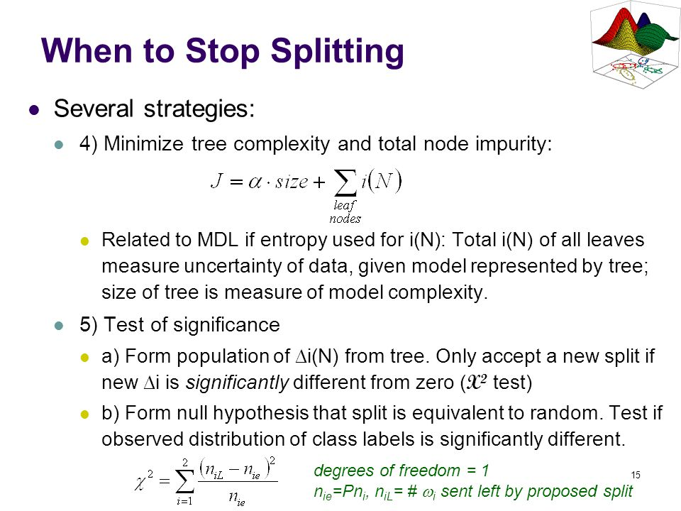 15 When to Stop Splitting Several strategies: 4) Minimize tree complexity and total node impurity: Related to MDL if entropy used for i(N): Total i(N)