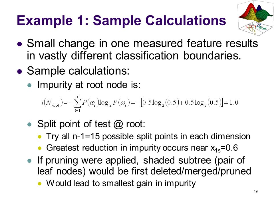 19 Example 1: Sample Calculations Small change in one measured feature results in vastly different classification boundaries. Sample calculations: Imp