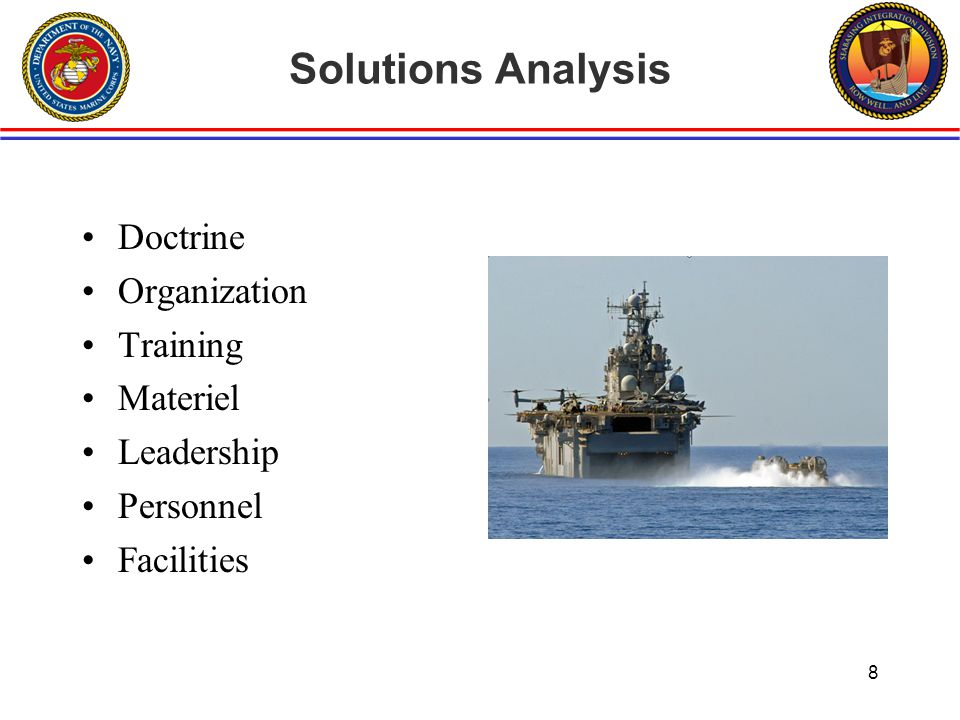 Seabasing Required Capabilities Annual Report DC, CD&I- HQMC Seabasing Advocate Seabasing Operational Advisory Group is the primary injection point Report is developed and submitted annually to DCNO, N9 Provides an integrated view of Seabasing requirements and recommended solutions Contents –Seabasing Overview –Major Programs –Required Capabilities Amphibious Warfare Ships Crafts & Connectors Maritime Prepositioning Force Afloat MAGTF C4 Naval Integration Seabasing S&T 9