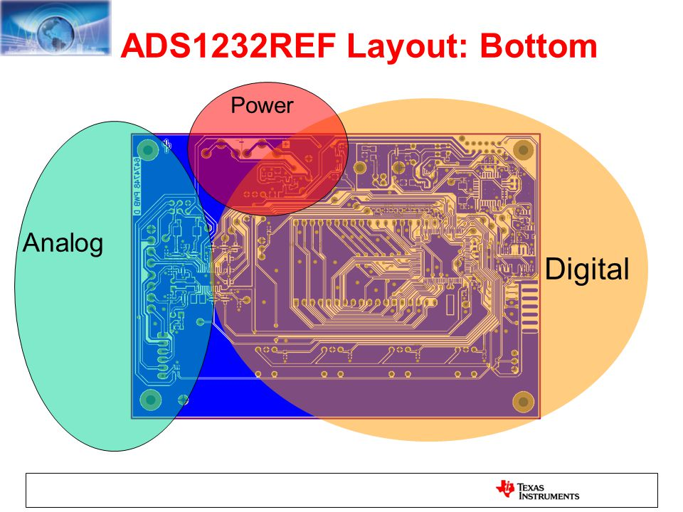 ADS1232REF Layout: Bottom Analog Digital Power