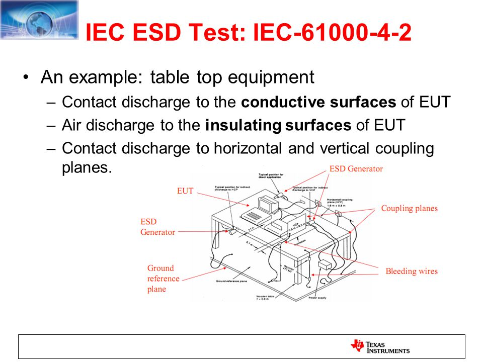 IEC ESD Test: IEC-61000-4-2 An example: table top equipment –Contact discharge to the conductive surfaces of EUT –Air discharge to the insulating surf