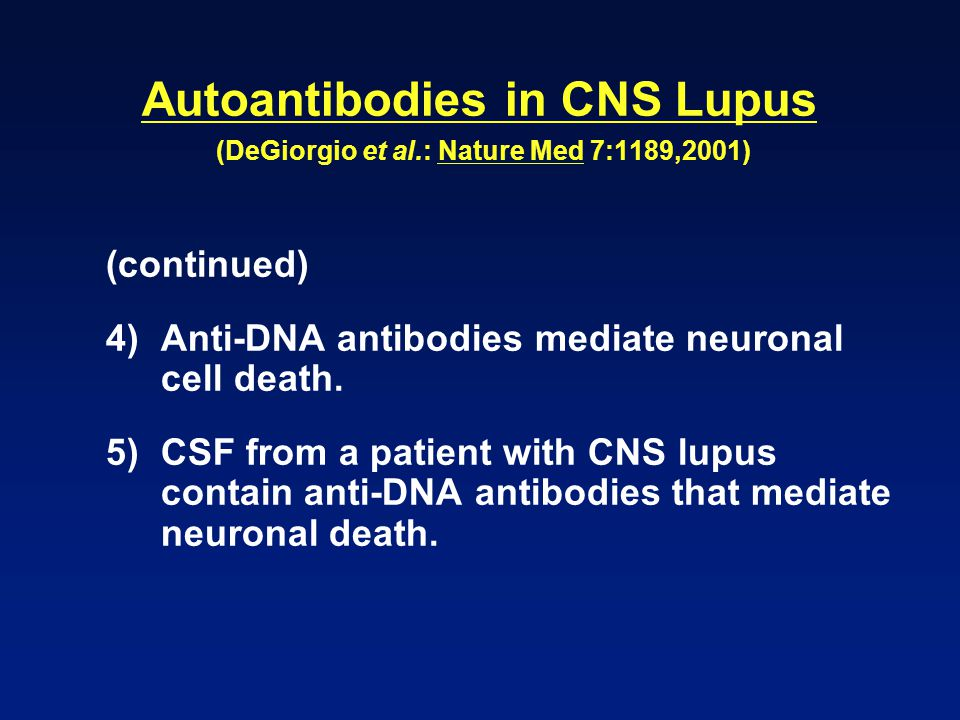 Autoantibodies in CNS Lupus (DeGiorgio et al.: Nature Med 7:1189,2001) (continued) 4)Anti-DNA antibodies mediate neuronal cell death. 5)CSF from a pat