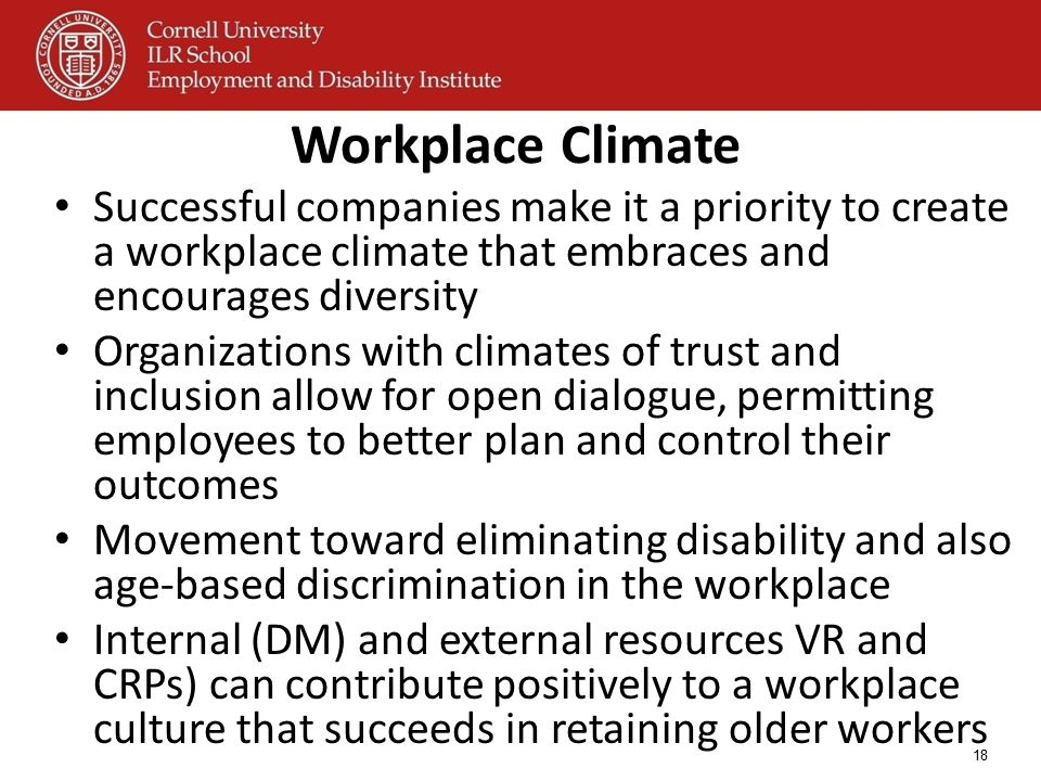 18 Workplace Climate Successful companies make it a priority to create a workplace climate that embraces and encourages diversity Organizations with c