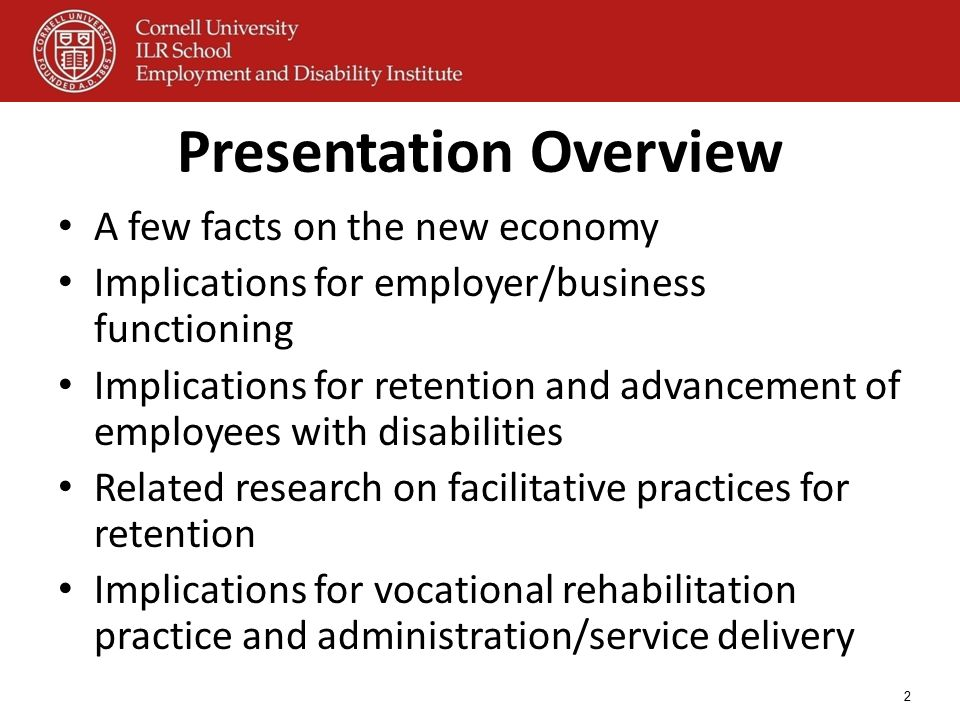 2 Presentation Overview A few facts on the new economy Implications for employer/business functioning Implications for retention and advancement of em