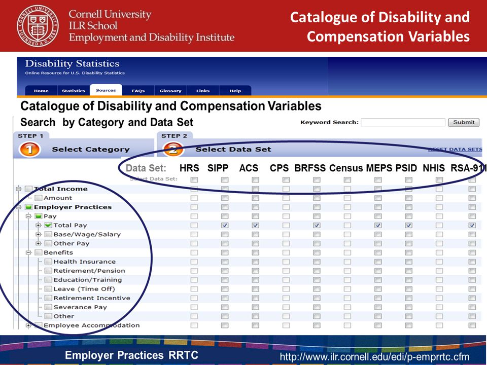 Catalogue of Disability and Compensation Variables