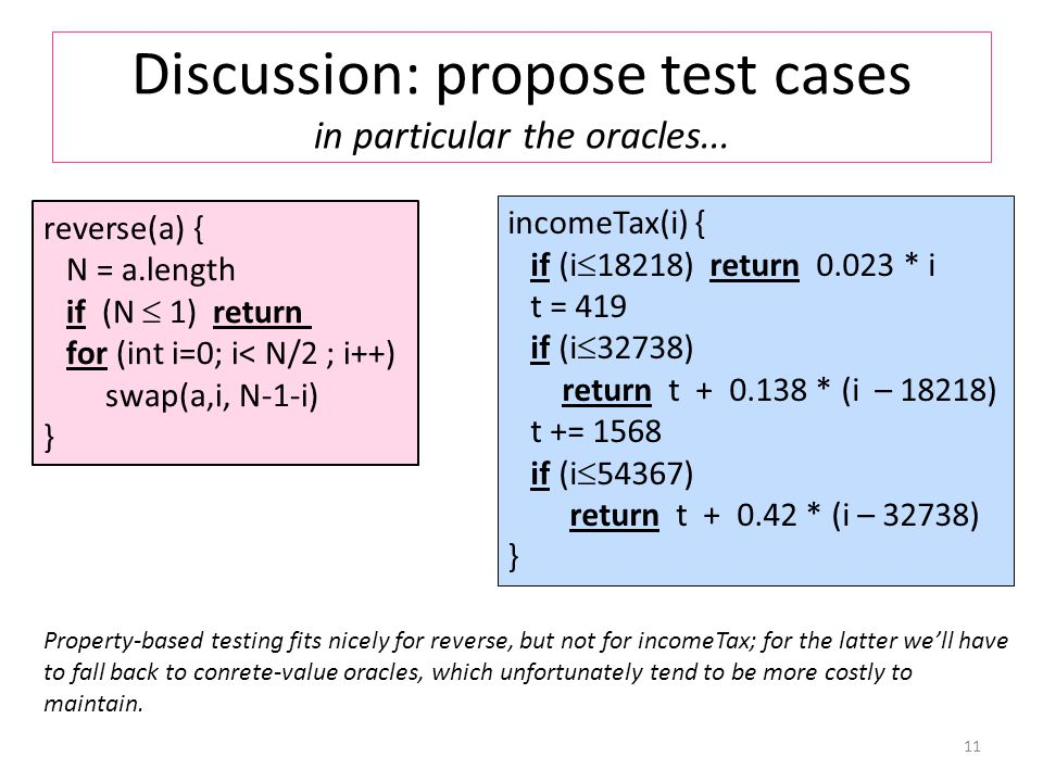 Discussion: propose test cases in particular the oracles...