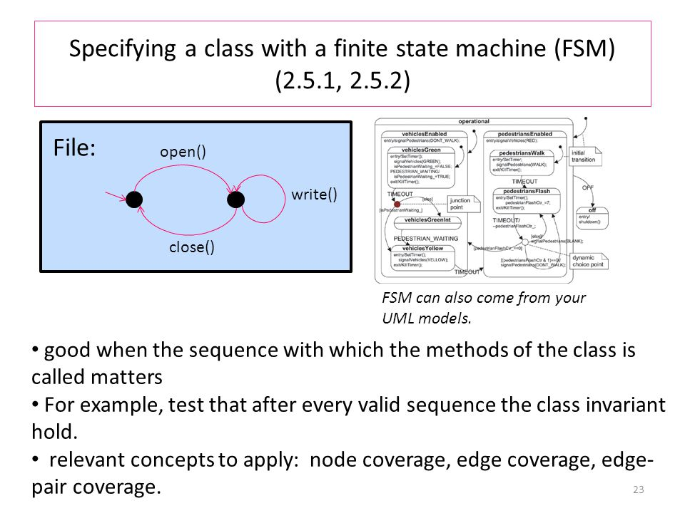 Specifying a class with a finite state machine (FSM) (2.5.1, 2.5.2) 23 open() close() write() File: good when the sequence with which the methods of the class is called matters For example, test that after every valid sequence the class invariant hold.