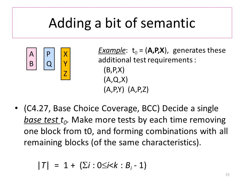 Adding a bit of semantic (C4.27, Base Choice Coverage, BCC) Decide a single base test t 0.