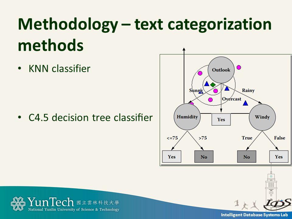 Intelligent Database Systems Lab precisionrecallF-measure Methodology – evaluation of the performance