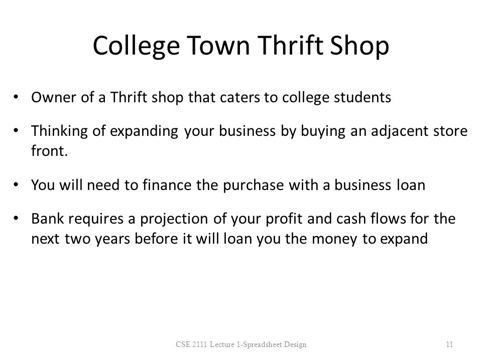 College Town Thrift Shop Owner of a Thrift shop that caters to college students Thinking of expanding your business by buying an adjacent store front.